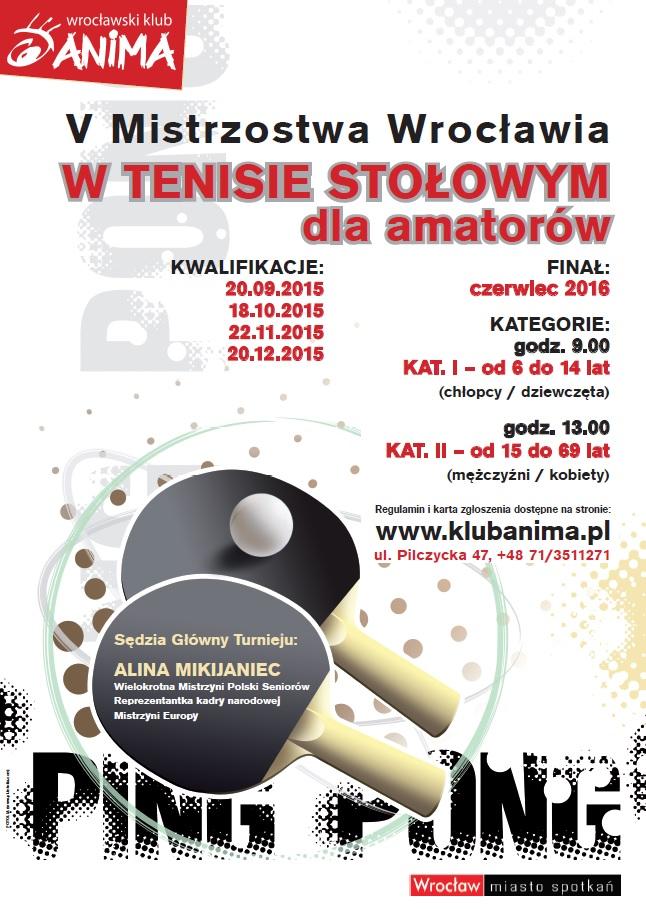 V Mistrzostwa Wrocławia w Tenisie Stołowym 2016