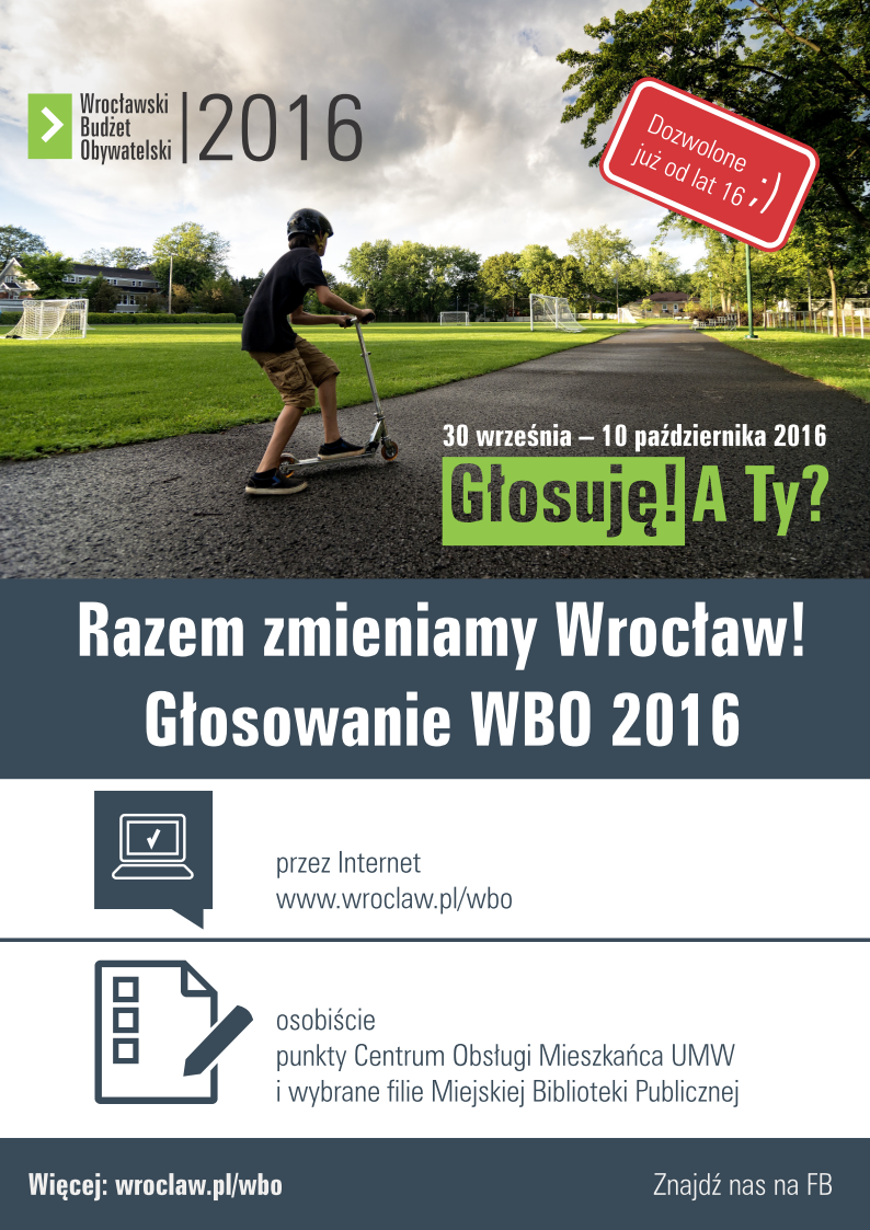Wrocławski Budżet Obywatelski -WBO 2016