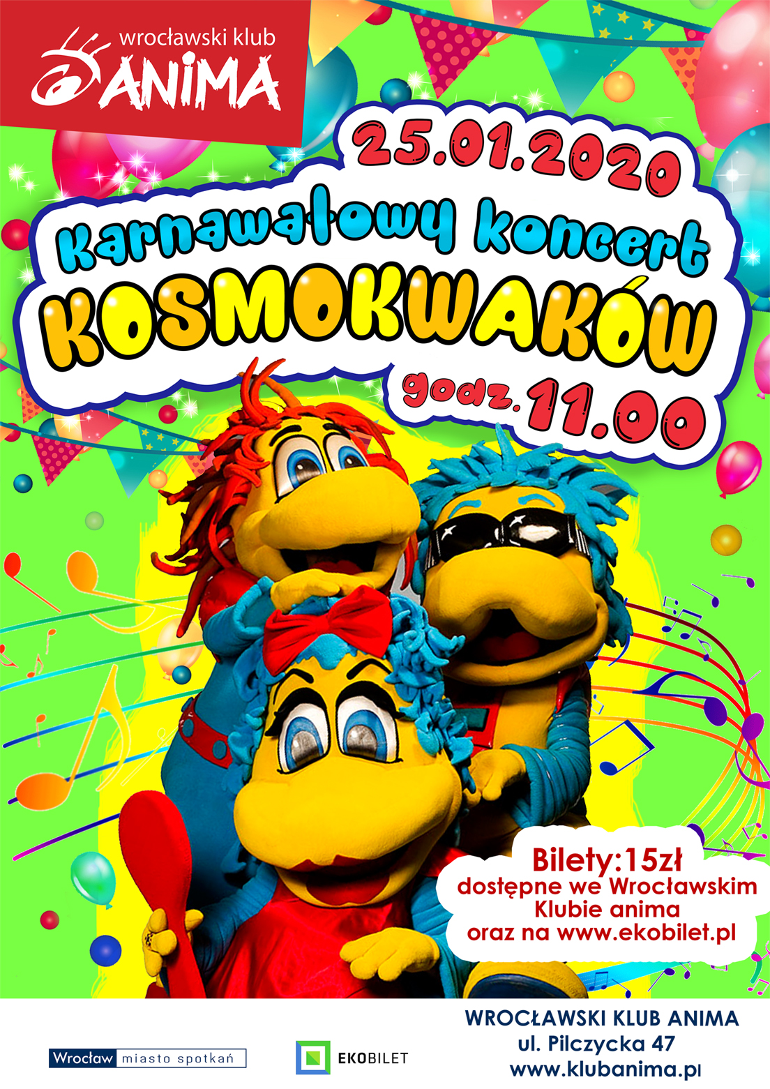 Karnawałowy koncert KOSMOKWAKÓW dla dzieci