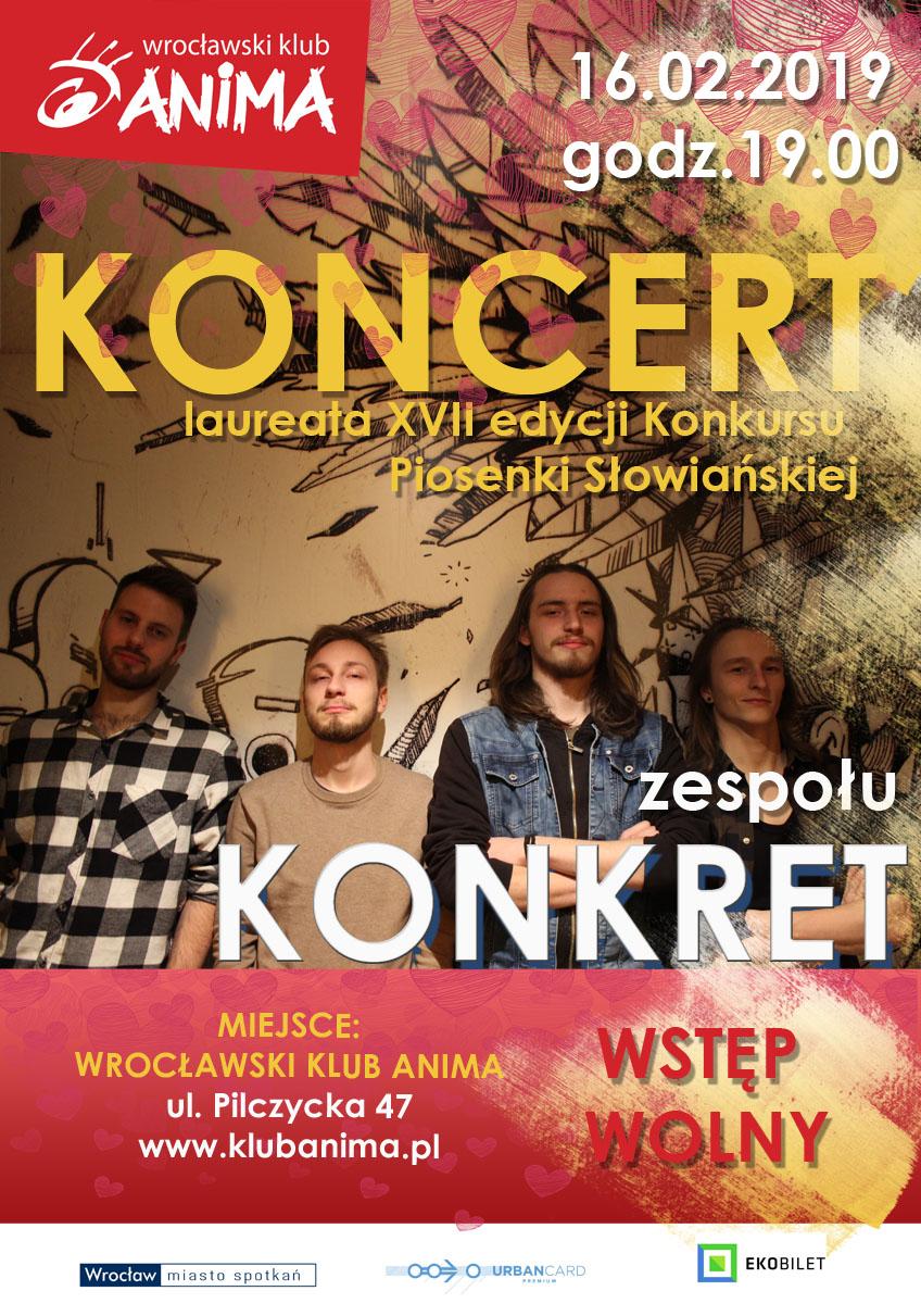 Walentynkowy koncert zespołu Konkret- 16 lutego